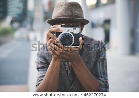 Uomo foto fotocamera albero viaggio Foto d'archivio © IS2