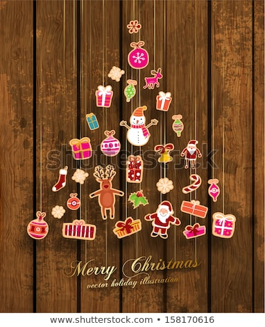 Christmas tree branches with snowman on wooden texture Stock photo © vlad_star