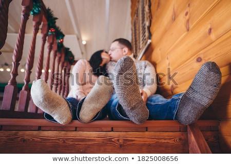Közelkép párok láb zokni szeretet férfi Stock fotó © IS2