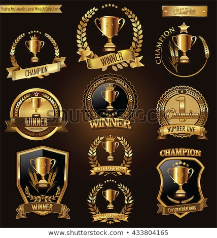 Overwinning viering poster gouden stickers Stockfoto © studioworkstock