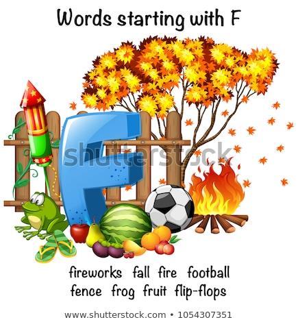 образовательный плакат дизайна слов огня школы Сток-фото © bluering