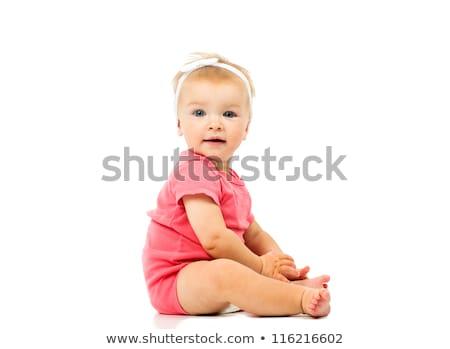 portrait of a cute little baby angel stock photo © konradbak