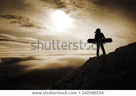 Férfi snowbordos áll hegy mosolyog vakáció Stock fotó © IS2