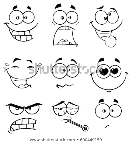 Black And White Scared Cartoon Funny Face With Panic Expression Stock photo © hittoon