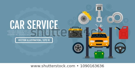 Car repair set banner. Car service. Mechanic at work. automobile Stock photo © MaryValery