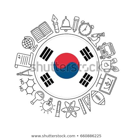 South Korea Flag vector illustration isolated on modern background with shadow. Stock photo © kyryloff