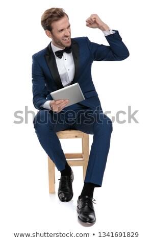 молодые · бизнесмен · вратарь · изолированный · красивый · лестнице - Сток-фото © feedough