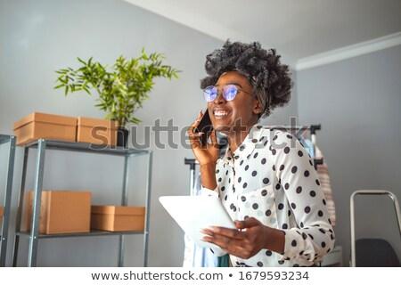 портрет · женщину · красочный · шарф · джинсовой - Сток-фото © feedough
