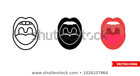 Open mouth and tongue isolated. Vector illustration Stock photo © popaukropa