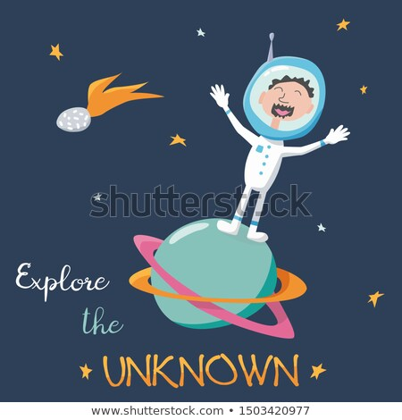 Cute poster on the theme of space exploration. Planet Saturn, flying rocket, astronomical telescope, Stock photo © Lady-Luck