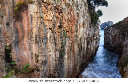 村 日没 スペイン 市 海 山 ストックフォト © lunamarina