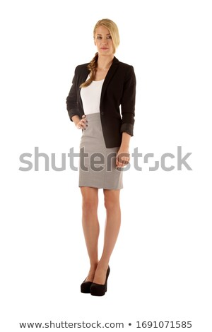 Fotó komoly nő fehér póló fekete Stock fotó © deandrobot