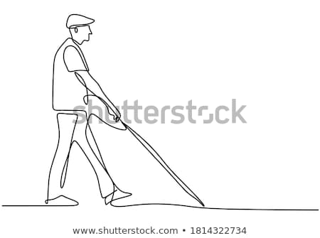 Blind man walking with stick vector illustration. Stock photo © RAStudio