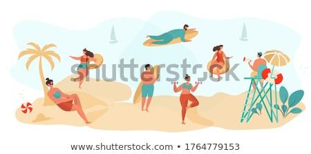 Man vrouw freelancer permanente strand vector Stockfoto © robuart