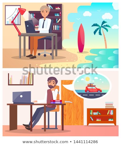 Tired Men at Work Dream about Travel Abroad Set Stock photo © robuart
