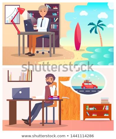 moe · man · computer · komische · cartoon · pop · art - stockfoto © robuart