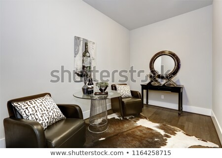 Wine modern testing room interior with lether armchairs and hardwood floor Stock photo © iriana88w