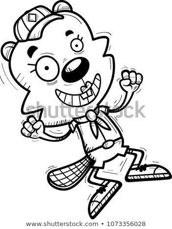 Cartoon Female Beaver Scout Jumping Stock photo © cthoman