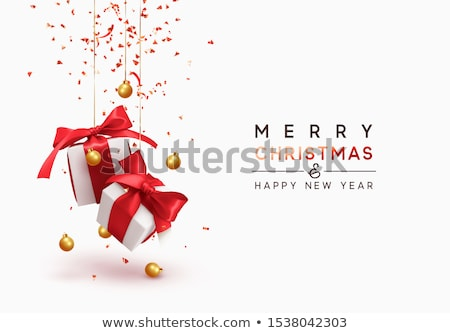 Merry Christmas Illustration with Red Bow Ribbon, Serpentine and Typography Elements on Black Backgr Stock photo © articular