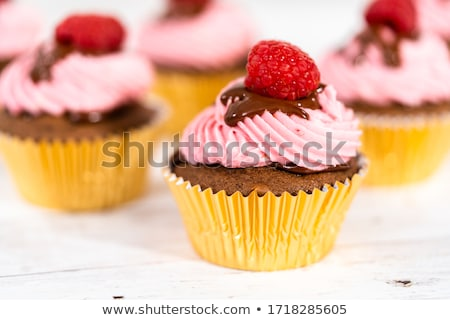 Cupcake with chocolate ganache and red berry stock photo © TasiPas