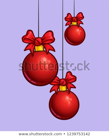 Christmas Cartoon Icon - Three Red Hanging Balls Stock photo © nazlisart