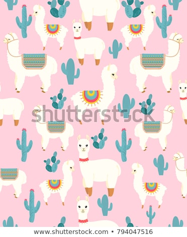 Cute llama in desert with cactus vector Stock photo © MarySan