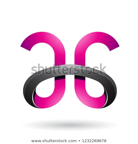 Black and Magenta Bold Curvy Letter A Vector Illustration Stock photo © cidepix