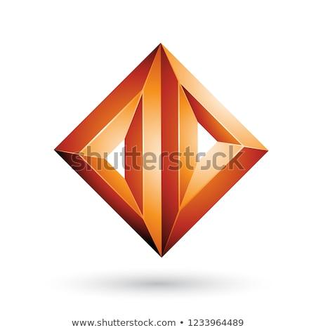 Orange 3d Geometrical Embossed Triangle Diamond Shape Vector Ill Stock photo © cidepix