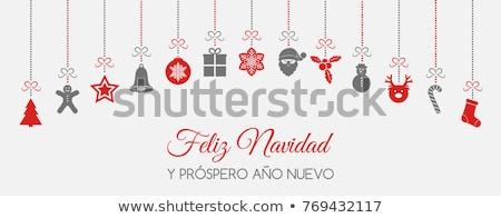 Kırmızı Noel çelenk süs afiş İspanyolca Stok fotoğraf © cienpies