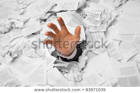 enterrado · papelada · cabeça · empresária · fora · documentos - foto stock © ra2studio