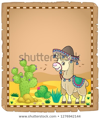 Llama in sombrero theme parchment 1 Stock photo © clairev