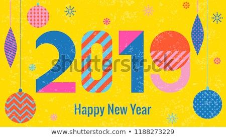 Yaratıcı vektör happy new year dizayn basit arka plan Stok fotoğraf © blumer1979