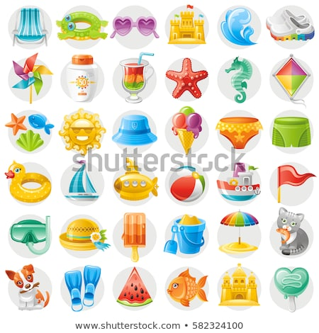 tourism icon water wave sun symbol logo clip art stock photo © blaskorizov