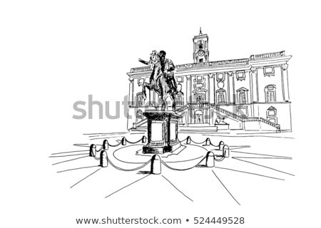 Statue of Pollux with a Horse at Capitoline Hill in Rome Stock photo © boggy