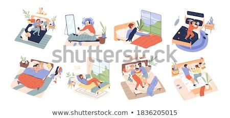 Différent enfants détente lit illustration heureux Photo stock © colematt