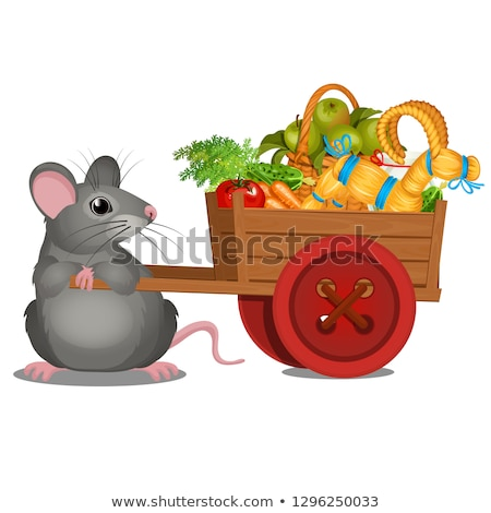 Animated gray mouse carries a wooden cart with a harvest of ripe vegetables and straw goat isolated  Stock photo © Lady-Luck