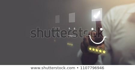 Müşteri geribesleme metin defter kahve kupa çubuk grafik Stok fotoğraf © Mazirama