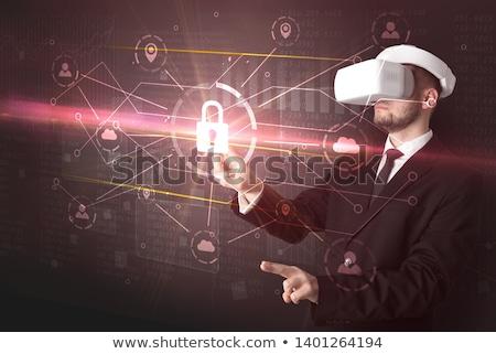 zakenman · virtueel · realiteit · stofbril · verwonderd · gegevens - stockfoto © ra2studio