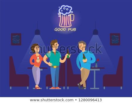 люди питьевой алкоголя хорошие неоновых Паб Сток-фото © robuart