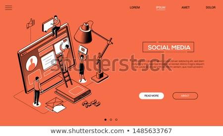 digital marketing   modern line design style web banner stock photo © decorwithme