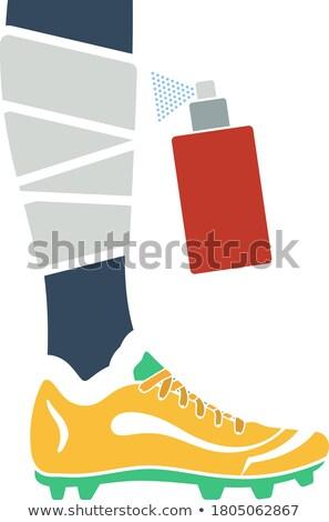 icon of football bandaged leg with aerosol anesthetic stock photo © angelp