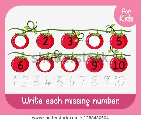 Pisać brakujący numer ilustracja kwiat dzieci Zdjęcia stock © colematt