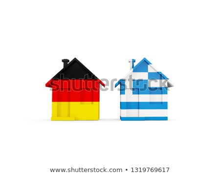 Two houses with flags of Germany and greece Stock photo © MikhailMishchenko