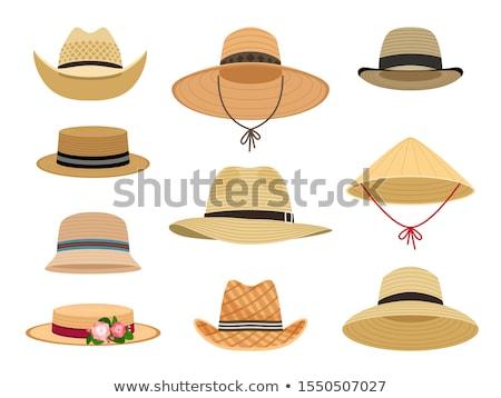 Vektör ayarlamak hasır şapka çizim grafik çiftçi Stok fotoğraf © olllikeballoon