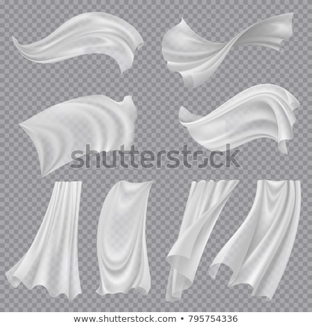 Fluttering White Cloth Vector. Billowing Clear Curly Curtain Transparent White Cloth. Realistic Clea Stock photo © pikepicture