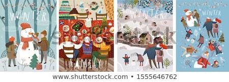 Foto stock: Family Making Snowman Card Love Winter Vector