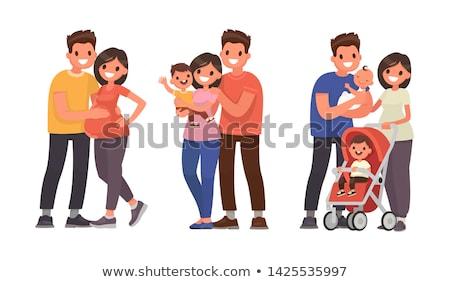 Nevelés család pár ikon szett anya fiú Stock fotó © robuart