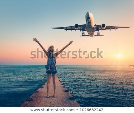 mensen · vliegtuig · opgewonden · vliegen · vrouw · hemel - stockfoto © colematt