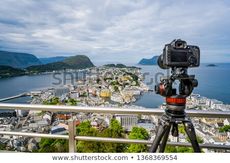 City of Alesund Norway Camera on a tripod on the observation dec Stock photo © cookelma