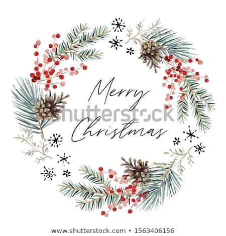 Photo stock: Joyeux · Noël · couleur · pour · aquarelle · couronne · vecteur · rouge